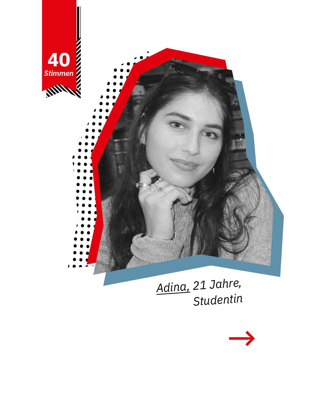 Statement 40 Jahre Gleichberechtigung, Adina, Studentin