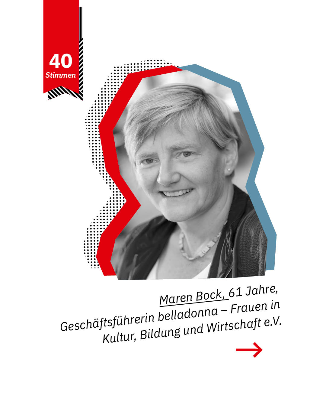 Statement 40 Jahre Gleichberechtigung, Maren Bock, Geschäftsführerin belladonna - Frauen in Kultur, Bildung und Wirtschaft e. V.