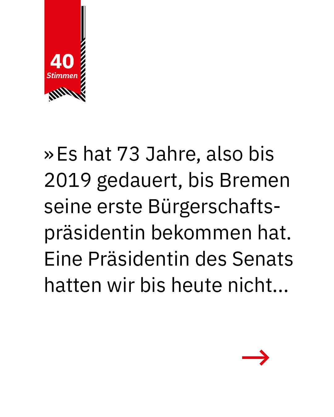 Statement 40 Jahre Gleichberechtigung, Antje Grotheer, Stellv. Präsidentin Bremische Bürgerschaft