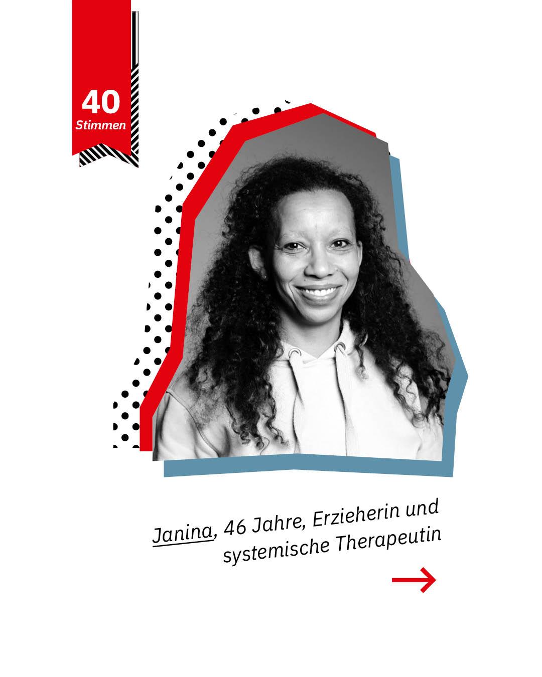 Statement 40 Jahre Gleichberechtigung, Janina, Erzieherin und systemische Therapeuten