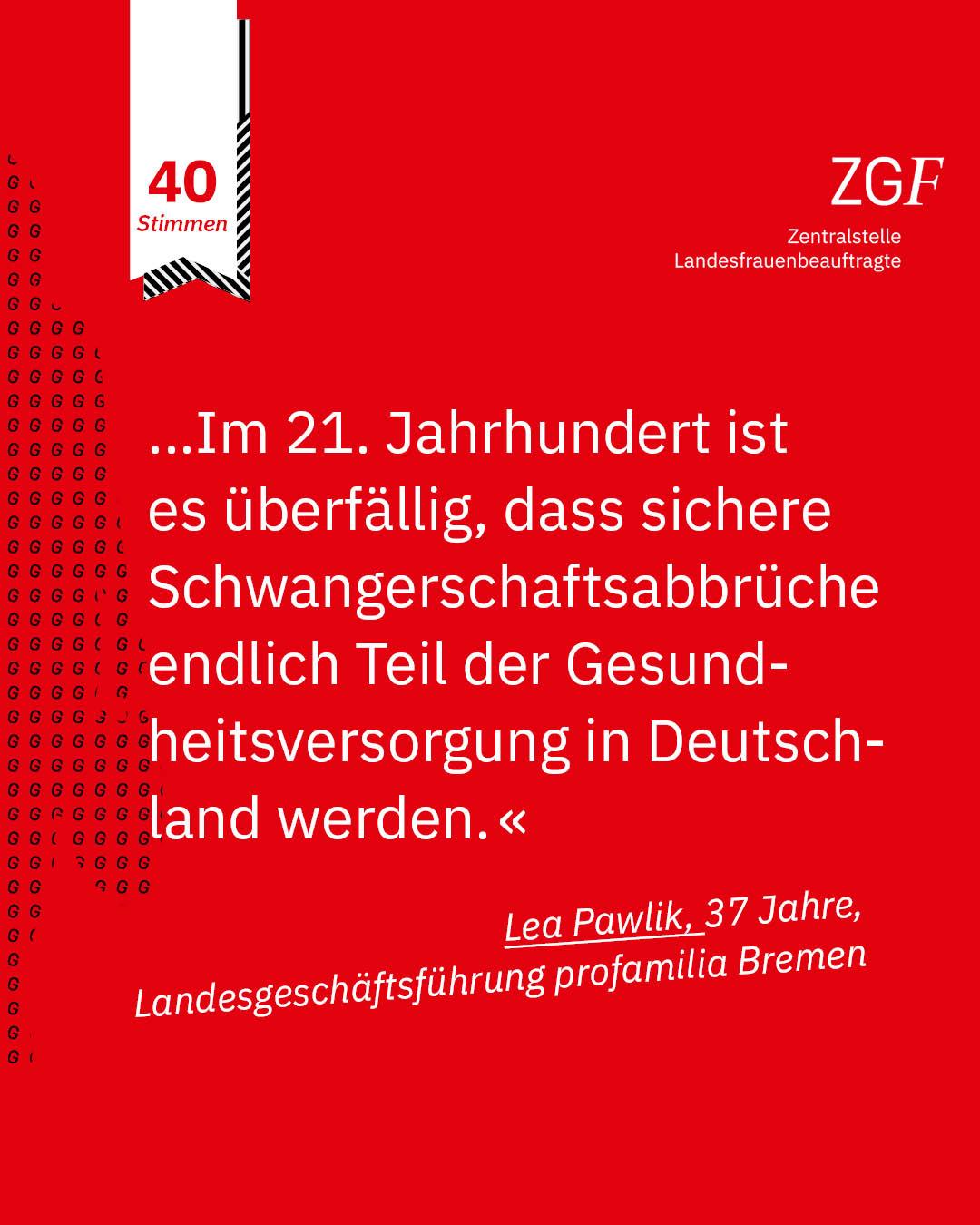 Statement 40 Jahre Gleichberechtigung, Lea Pawlik, Landesgeschäftsführung profamilia Bremen