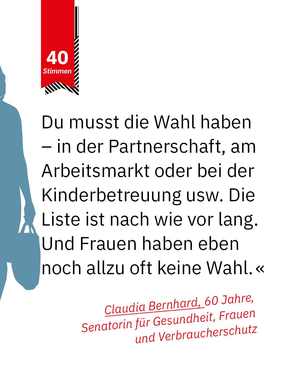 Statement 40 Jahre Gleichberechtigung,Claudia Bernhard, Senatorin für Gesundheit, Frauen und Verbraucherschutz
