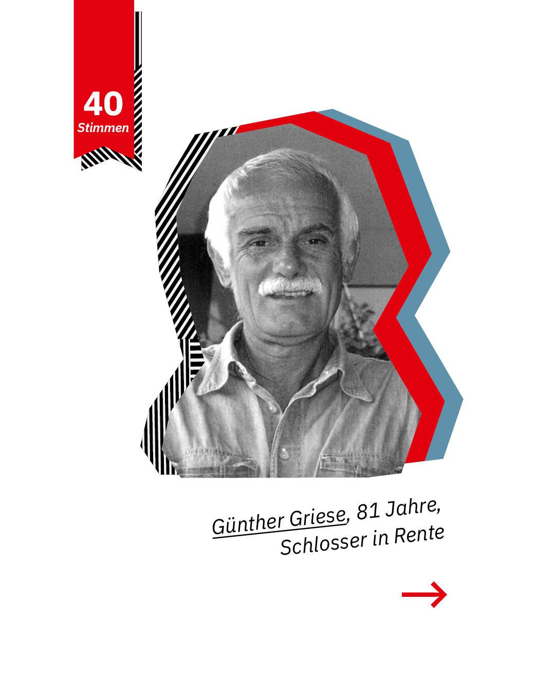 Statement 40 Jahre Gleichberechtigung, Günther Griese, Schlosser in Rente