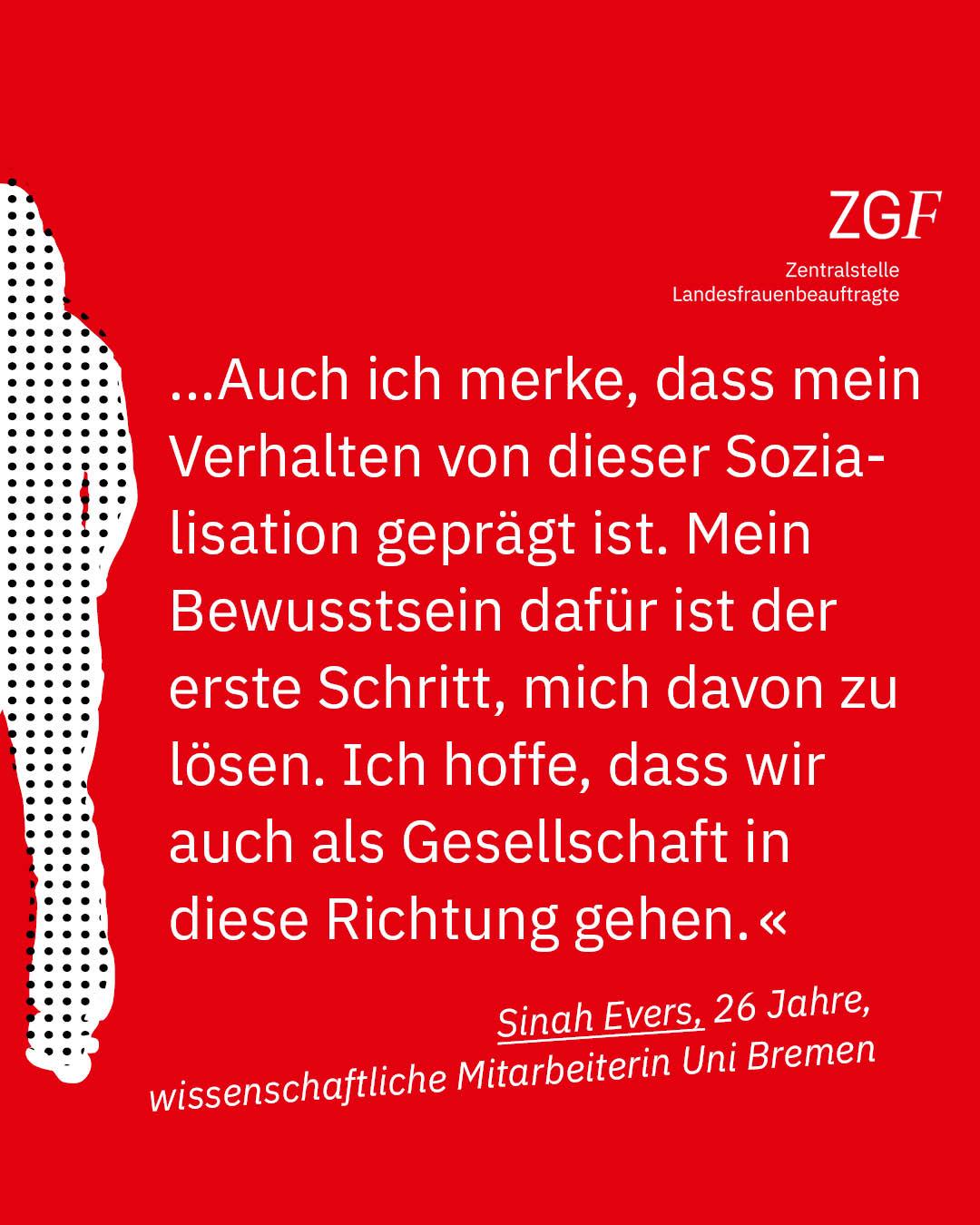 Statement 40 Jahre Gleichberechtigung, Sinah Evers, wissenschaftliche Mitarbeiterin Uni Bremen