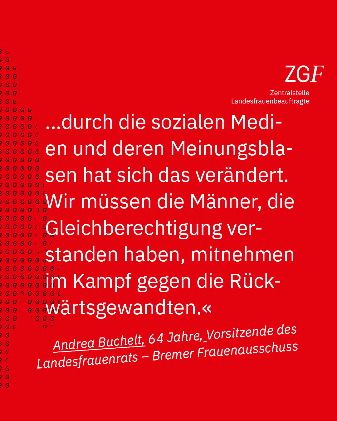 Statement 40 Jahre Gleichberechtigung, Andrea Buchelt, Vorsitzende Landesfrauenrat - Bremer Frauenausschuss