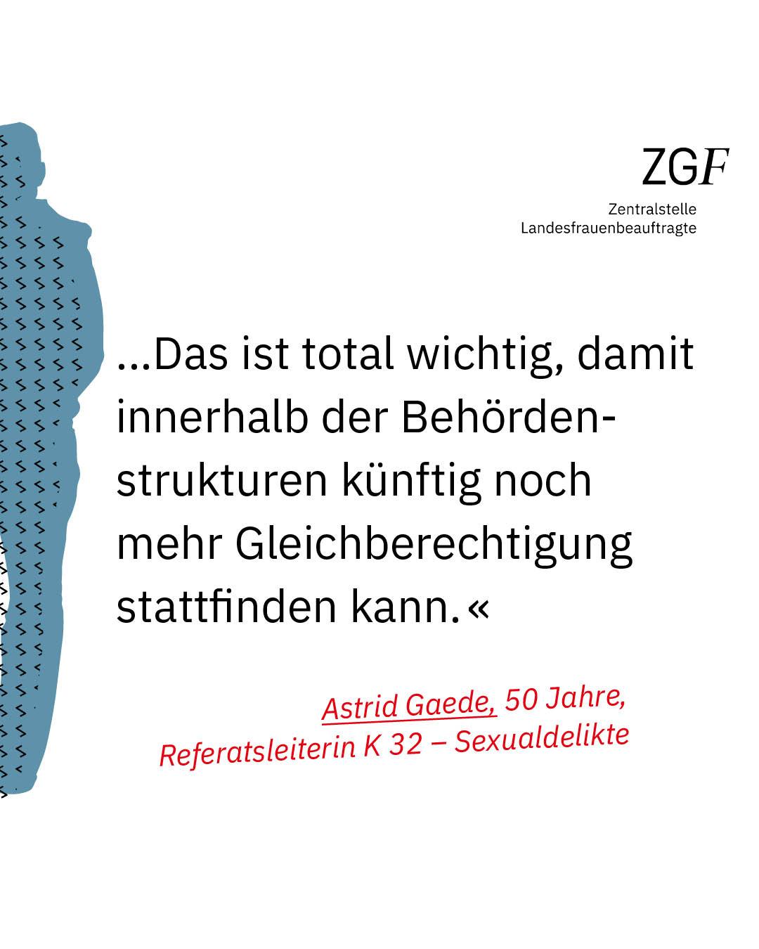 Statement 40 Jahre Gleichberechtigung, Astrid Gaede, Referatsleiterin K32
